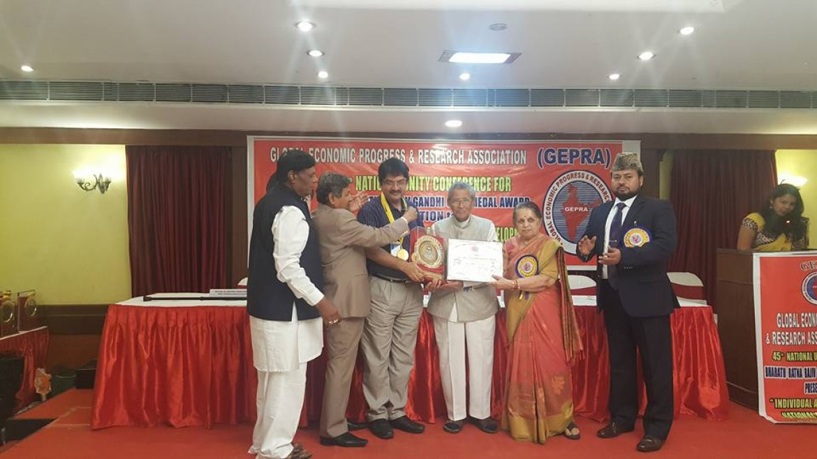 "Dr. Tushar Kanti Ghosh has been honoured with the ""bharat ratna rajiv gandhi gold medal award"""